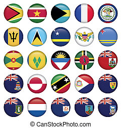 American Flags Soft Round Buttons, includes 300 dpi JPG, Illustrator CS and EPS10. Vector with transparency.