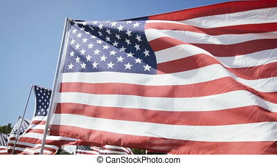 american flags waving with a blue sky background....