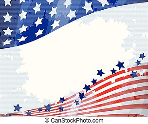 American flag patriotic flowing background, Independence day.