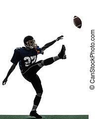 american foci játékos, ember, futballista, rúgás, árnykép