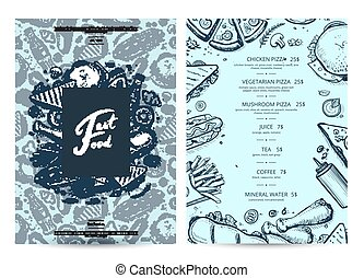 American food and drink menu design with prices