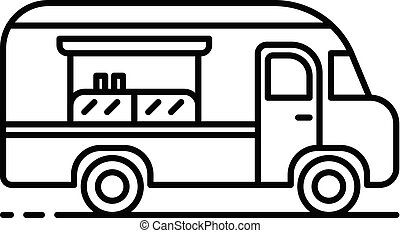 American food truck icon, outline style