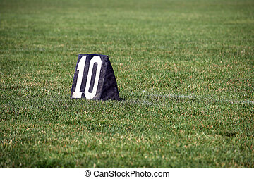 American football 10 yard line number marker