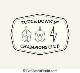 American football  badge black on white