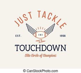 American football badge just tackle