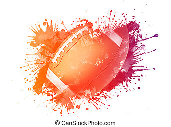 American Football Ball - American Football ball in Watrcolor...