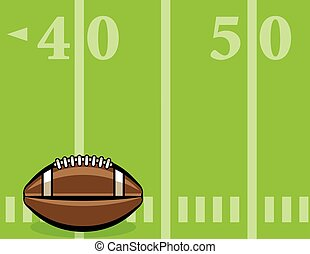 American Football Ball and Field Background Illustration -...