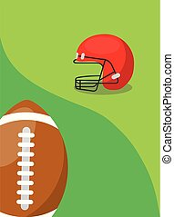 american football ball and protection helmet