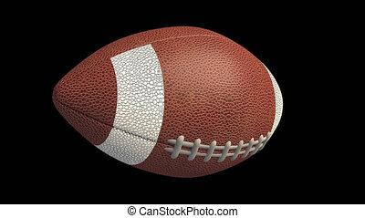American football ball flying and spinning, 4k alpha loop