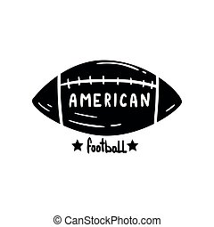 American Football ball, hand drawn retro design element for logo, badge vector Illustration on a white background