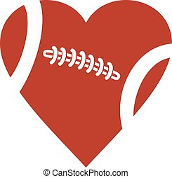American football ball heart