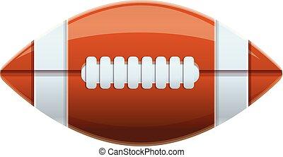 American football ball icon, cartoon style