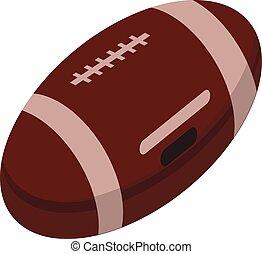 American football ball icon, isometric style
