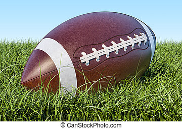 American football ball in the grass, 3D rendering