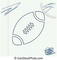 American Football ball line sketch icon isolated on white background. Vector Illustration