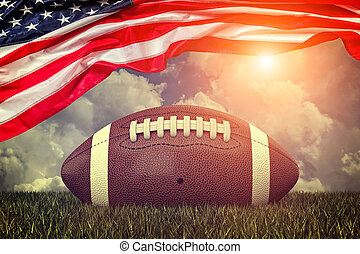 american football ball old glory and sky 3d rendering image