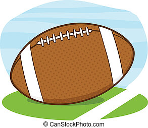 American Football Ball On Field