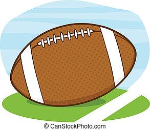 American Football Ball On Field