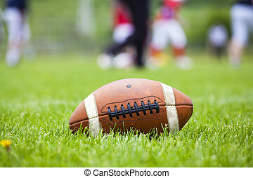American football ball on the field