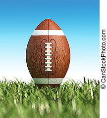 American football ball, on the grass. Close up. - American...