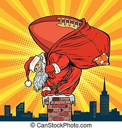 American football ball. Santa Claus with gifts climbs into the c