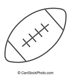 American football ball thin line icon, game and sport, ball sign, vector graphics, a linear pattern on a white background, eps 10.