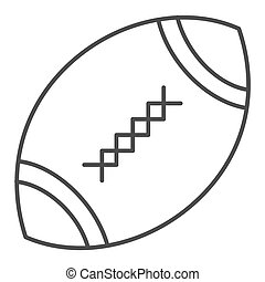 American football ball thin line icon. Rugby ball vector illustration isolated on white. Oval ball with stitches outline style design, designed for web and app. Eps 10.