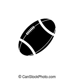 American football ball vector icon. black on white background