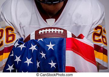 American football ball with national flag.