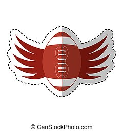 american football balloon with wings icon