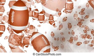 american football balls explosion on white background