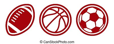 American football basketball soccer balls vector icons
