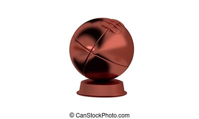 American Football Bronze Trophy in Infinite Rotation