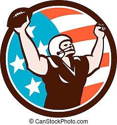 American Football Celebrating Touchdown Retro