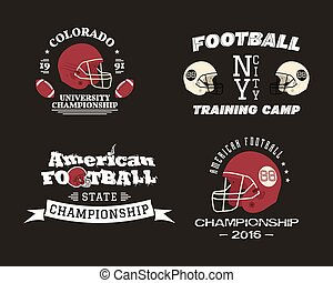American football championship, team training camp badges, logos, labels, insignias in retro color style. Graphic vintage design for t-shirt, web. Colorful print isolated on a dark background. Vector
