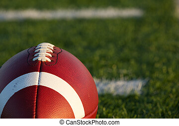 American Football Close Up with Field Beyond