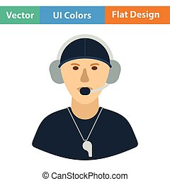 American football coach icon. Flat color design. Vector...