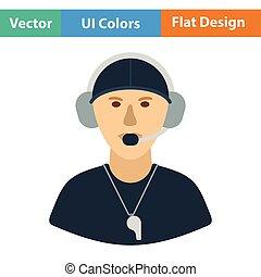 American football coach icon. Flat color design. Vector...