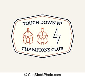 American football colored badge