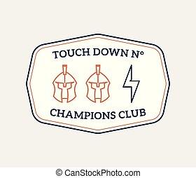 American football colored badge