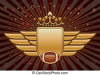 american football crown,shield,wing