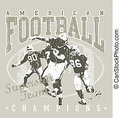 American football - crack illustration for shirt printed and...