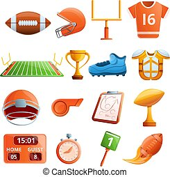 American football equipment icons set, cartoon style