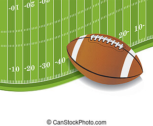 American Football Field and Ball Background - An...