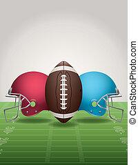 American Football Field, Ball, and Helmets - An illustration...