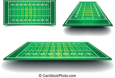 detailed illustration of American Football fields with different perspective, eps10 vector