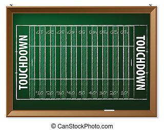 American football field drawn on chalkboard - American...