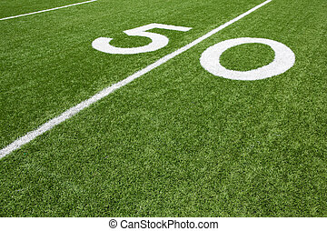 American Football Field Fifty Yard Line - Fifty Yard Line of...