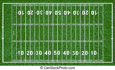 American Football Field, Isolated On White Background,...