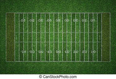 American Football Field on Grass - Green grass American...